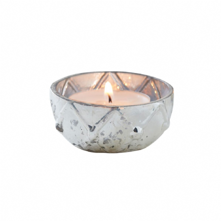 Silver Checked Mercury Glass Tea Light Holder